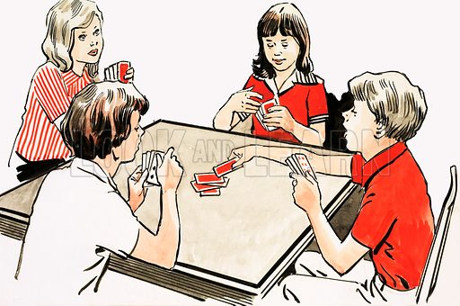 A Hobby That Is On The Cards. Four children playing cards. Original artwork from Look and Learn Book 1982.