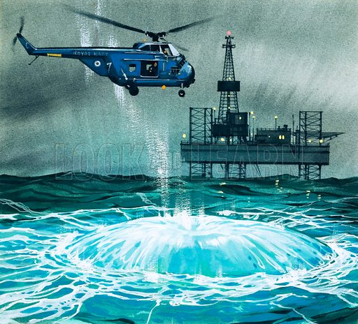 Fire! A helicopter approaches an oil rig. Original artwork from Look and Learn Book 1982.