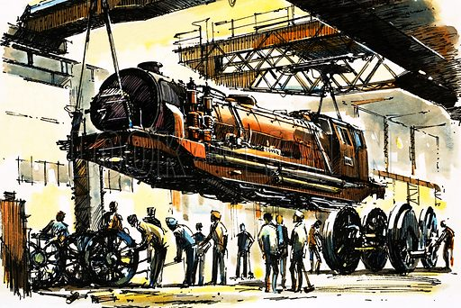 The World of Speed and Power: All Aboard for the Steam Safari! A Beyer-Garratt boiler section lifted clear of the two end units during an overhaul. Original artwork from Look and Learn no. 855 (3 June 1978).
