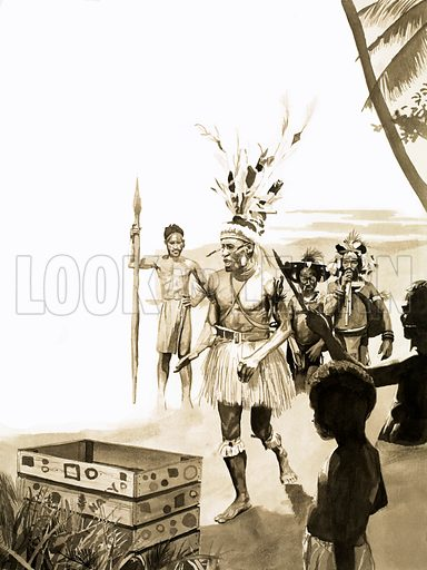 Our Strange World: A Gift from the Gods. Tribesmen of New Guinea believed the empty crate was a transmitter via which they could call up new luxuries. Original artwork from Look and Learn no. 541 (27 May 1972).