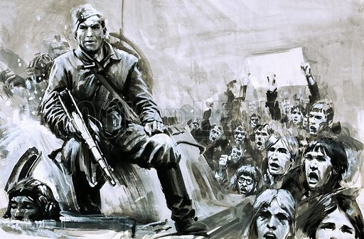Unidentified soldier on tank. Original artwork for Look and Learn.