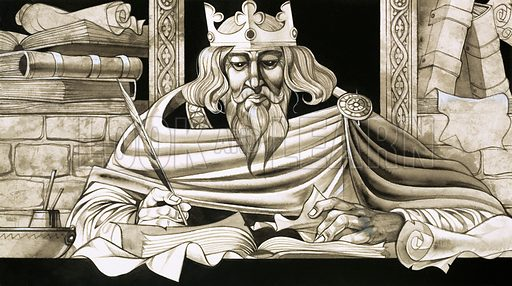 Unwillingly to School. King Alfred was a keen scholar and the true father of British education. Original artwork from Look and Learn no. 458 (24 October 1970).