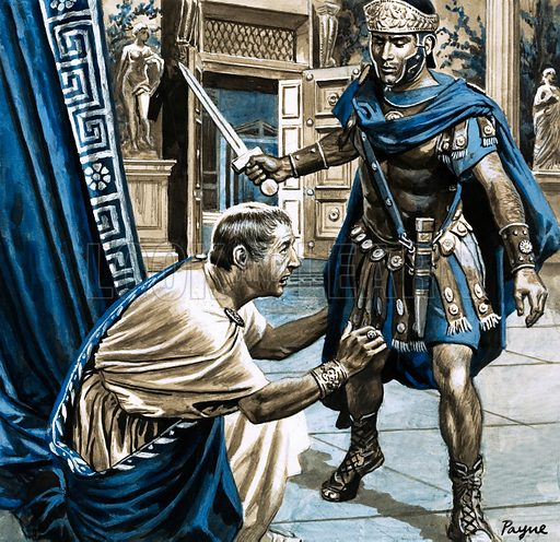 Masters of Rome: The 'Fool' Who Fooled the Empire. Overcome with fear, Claudius fell at the embarrassed soldier's feet. Original artwork from Look and Learn no. 797 (23 April 1977).