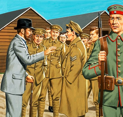 Unidentified soldiers. Original artwork.