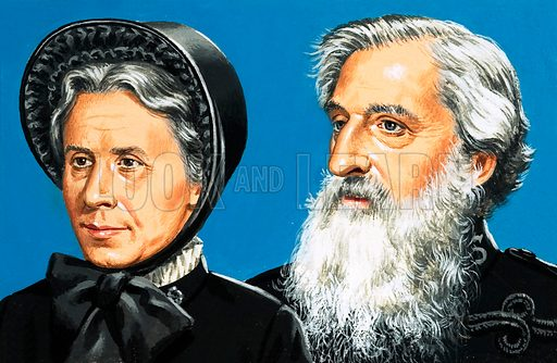 William Booth and his wife Catherine.  Original artwork for Look and Learn.