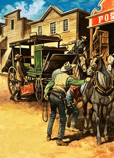 Wheels Across the West. Passengers beginning their journey across America. Original artwork from Look and Learn Book 1975.