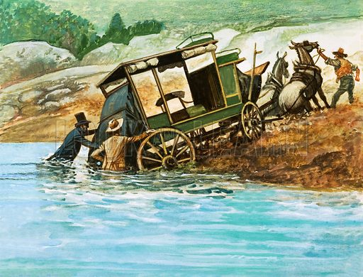 Wheels Across the West. When rivers had to be forded, the passengers got out and helped push the coach through the water. Original artwork from Look and Learn Book 1975.