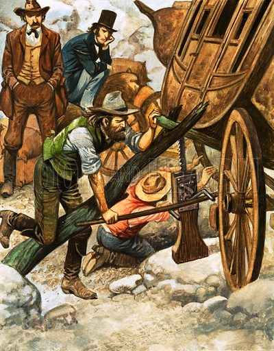 Fixing a broken wagon wheel on a pioneer wagon train bound for the American West, 19th Century. A wheel broken on the rugged trail was just one of the many mishaps that could delay a journey. Original artwork from Look and Learn Book 1975.