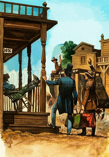 Journey to the American Far West: Across the Desert. The stagecoach journey East ends for some travellers at Carson City. Original artwork from Look and Learn no. 574 (13 January 1973).