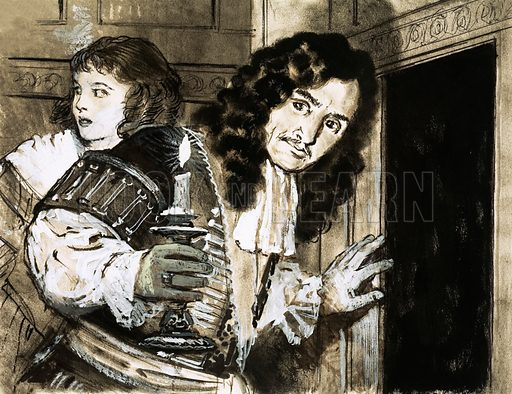 People in Hiding: The Secrets of the King. King Charles II hides following his defeat at the Battle of Worcester in 1851. Original artwork from Look and Learn no. 419 (24 January 1970).