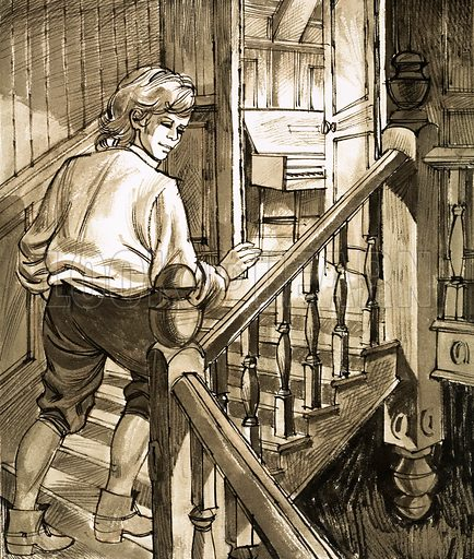 Words and Music: Secret of the Attic. With his parents safely asleep, young composer Handel crept up the stairs to the attic to play the piano. Original artwork from Look and Learn no. 422 (14 February 1970).