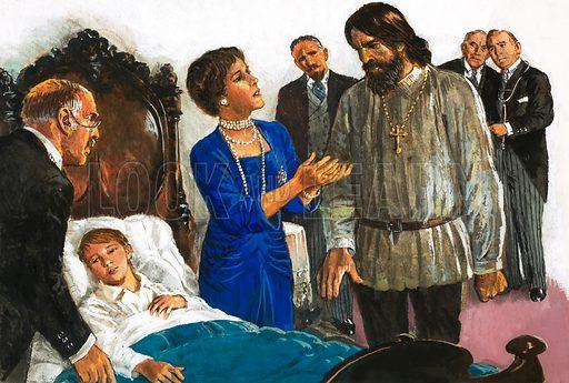 Princess Irina turns to Rasputin to save Alexis. Original artwork for L&L Book 1982.
