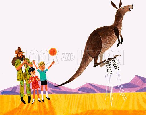 Kangaroo jumping.  Original artwork for Treasure annual 1971.