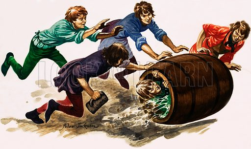 The Wonderful Story of Britain: The Craftsmen and the Guilds. A newly qualified apprentice is dowsed in beer and rolled in a barrel. Original artwork from Treasure no. 73 (6 June 1964).