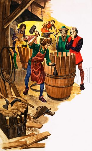 The Wonderful Story of Britain: The Craftsmen and the Guilds. An apprentice to a cooper is watched by a guild official as he works on the rings of a barrel. Original artwork from Treasure no. 73 (6 June 1964).