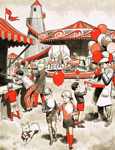 Fairground scene. Original artwork for Treasure Annual 1971.