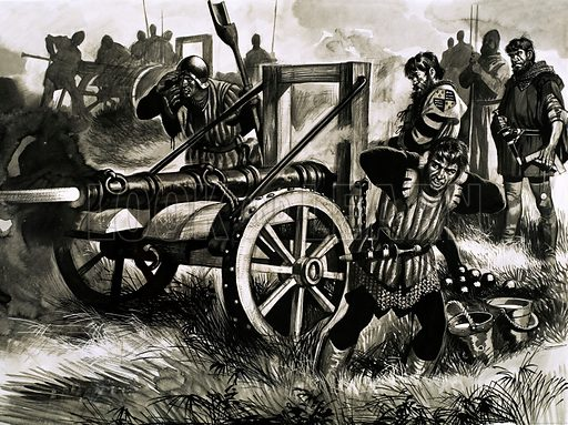Canon being fired. Original artwork from unidentified issue of Look and Learn.