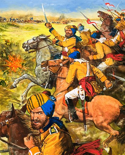 Twilight of an Empire: War in the Punjab. In the War in the Punjab, on 11 December 1845, 20,000 Sikh Cavalrymen headed towards the British lines. Original artwork from Look and Learn no. 466 (19 December 1970).