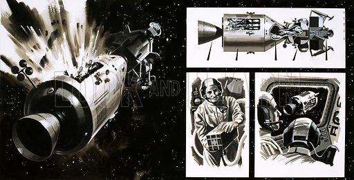 The Apollo 13 Mission. Original artwork (dated 25/7/70).