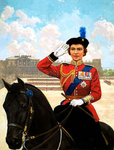 Queen Elizabeth II trooping the colour. Original artwork for Treasure or Look and Learn.