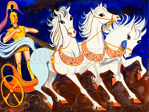 Rhesus, King of Thrace, and his magnificent white horses.