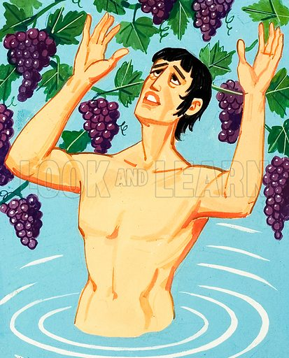 King Tantalus is punished by the Gods unable to reach the delicious fruits above him.