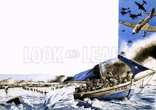 The Gallant Armada. Time after time, the little ships made their way across the English Channel to rescue soldiers from the beaches at Dunkirk. Original artwork from Look and Learn Book 1982.