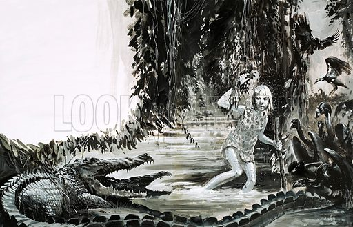 Survival: Lost in the Jungle. A young girl faces danger in the jungles of Peru after suviving a plane crash. Original artwork from Look and Learn no 588 (21 April 1973).
