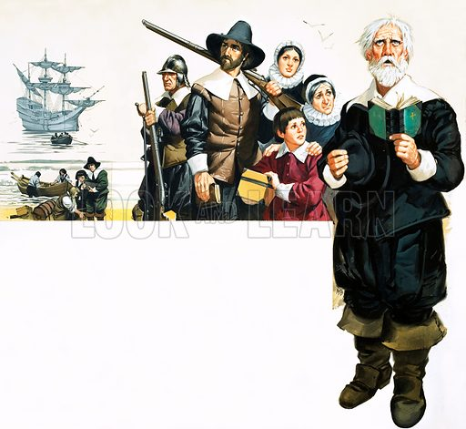 The Making of America: The Real Yankees. The Pilgrim Fathers arrive in America. Original artwork from Look and Learn no. 404 (11 October 1969).