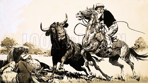 True Adventure: Rogue Bull. Cowboys in the Australian outback try to rope a bull. Original artwork from Look and Learn no. 398 (30 August 1969).
