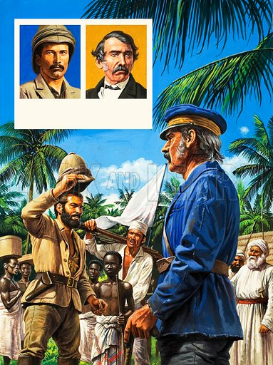 Henry Stanley greets David Livingstone, with two inset portraits. Original artwork.