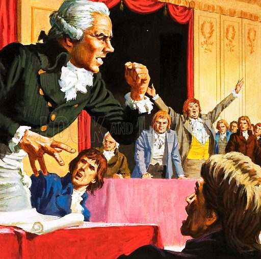 Robespierre speaking on bahalf of the starving people of Paris.  Original artwork for Tell Me Why Annual 1970.