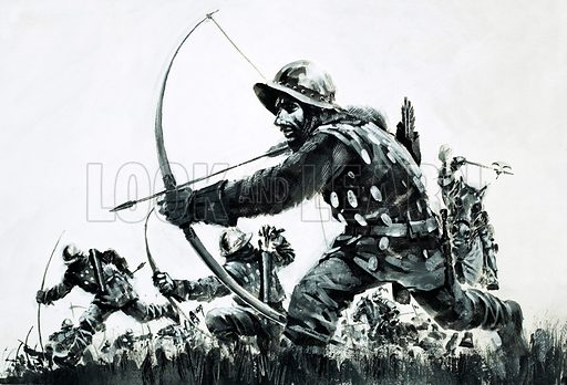 Days of Defeat: The Battle of the Spears. Supported by English and Welsh bowmen, the English knights charged the Scottish spearmen at the start of the Battle of Bannockburn. Original artwork from Look and Learn no. 650 (29 June 1974).