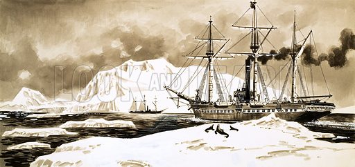 The Young Castaways, illustration based on the story Salvage From The Cynthia by Jules Verne. A ship steams between the glaciers of the Arctic. Original artwork from Look and Learn no. 192 (18 September 1965).