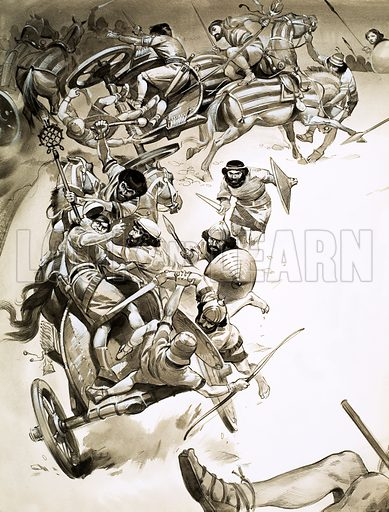 Unidentified battle scene. Original artwork.