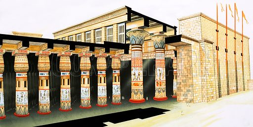 Second Sight: The Pharaoh's Tribute. A reconstruction of part of the Hypostyle Hall which formed an antechamber to the Temple of Amun of Karnak. The cut-away view shows the central part of the roof on its giant columns. Original artwork from Look and Learn no. 1027 (14 November 1981).