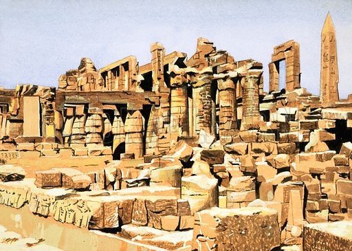 Second Sight: The Pharaoh's Tribute. The ruins of the Temple of Amun of Karnak. Original artwork from Look and Learn no. 1027 (14 November 1981).