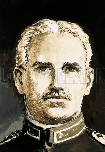 The Master Builders: Waterway of Death. Portrait of GW Goethals, who was in charge of the building of the Panama Canal. Original artwork from Look and Learn no. 416 (3 January 1970).
