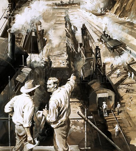 The Master Builders: Waterway of Death. GW Goethals directs the building of the Panama Canal. Original artwork from Look and Learn no. 416 (3 January 1970).