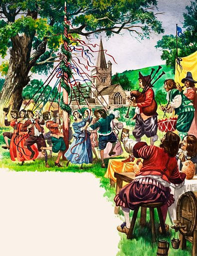 The Wonderful Story of Britain: When England Became Merry Again. Villagers dance round the maypole outside the village church as musicians play merry tunes. Original artwork from Treasure no. 121 (8 May 1965).