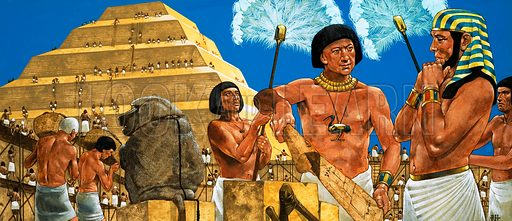 Imhotep, the astronomer and architect, with the Pharaoh Zoser at the site of the great Step Pyramid.  Original artwork.