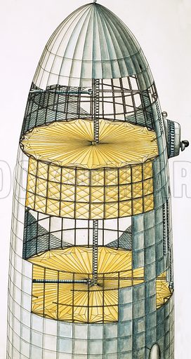 Cut-away drawing showing internal structure of airship. Original artwork.