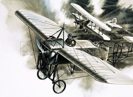Warriors With Wings: The Birth of Aerial Warfare. The first reconnaissance flight by the RFC took place on 19 August 1914. The two aircraft were (foreground) a Bleriot XI and (background) a BE 2b. Original artwork from Look and Learn no. 811 (30 July 1977).