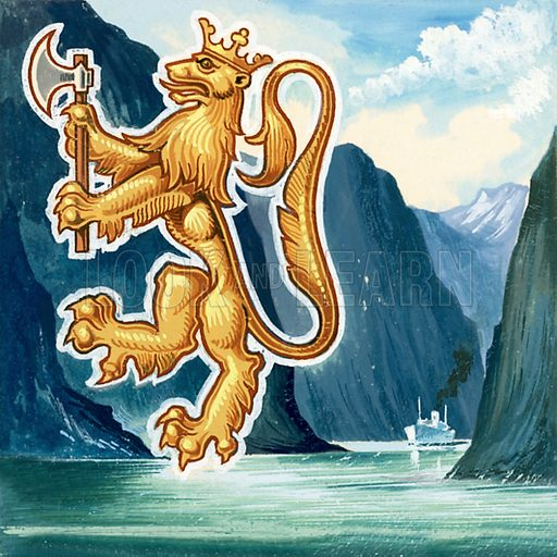 Picture Quiz – animal emblems of many countries. The emblem of Norway. Original artwork for cover quiz from Look and Learn no. 208 (8 January 1966).