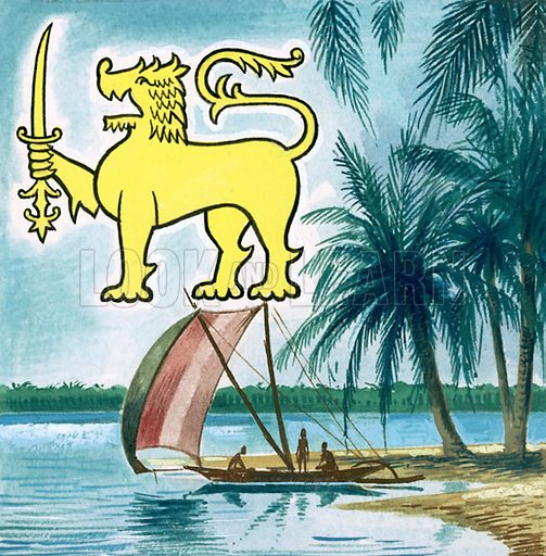 Picture Quiz -- animal emblems of many countries. The emblem of Ceylon. Original artwork for cover quiz from Look and Learn no. 208 (8 January 1966).