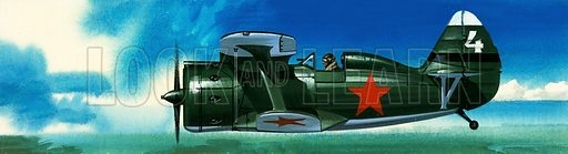 Into the Blue: Russian Fighters of World War IIA. Russian Polikarpov I-153 fighter. Original artwork from Look and Learn no. 383 (17 May 1969).
