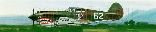 Into the Blue: American War-planes (1941–45). An American Curtiss P-40B fighter. Original artwork from Look and Learn no. 346 (31 August 1968).