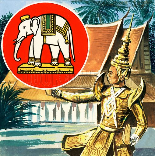 Picture Quiz – animal emblems of many countries. The elephant, emblem of Thailand. Original artwork for cover quiz from Look and Learn no. 208 (8 January 1966).