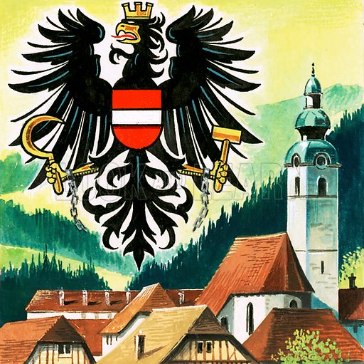 Picture Quiz – animal emblems of many countries. The Austrian Eagle, emblem of Austria. Original artwork for cover quiz from Look and Learn no. 208 (8 January 1966).