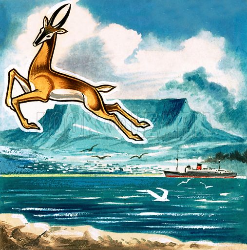 Picture Quiz – animal emblems of many countries. The Springbok, emblem of South Africa. Original artwork for cover quiz from Look and Learn no. 208 (8 January 1966).